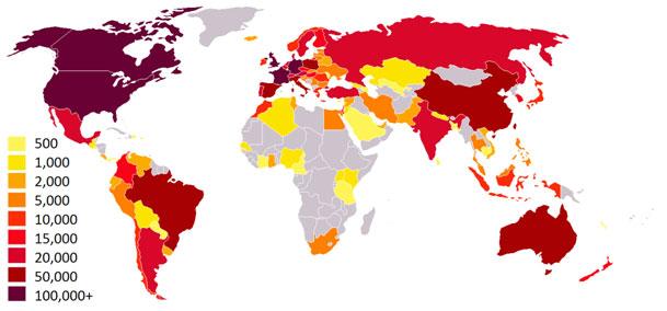 Broj članova društvene mreže Couchsurfing.org po državama